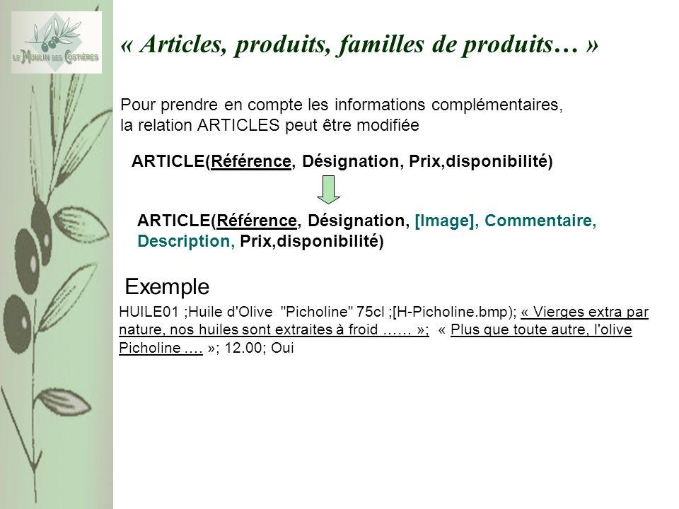 « Articles, produits, familles de produits… » Exemple : Un tuple de la relation FAMILLE (Nom, Commentaire) Nom Vierges extra par nature, nos huiles sont extraites à froid au domaine.