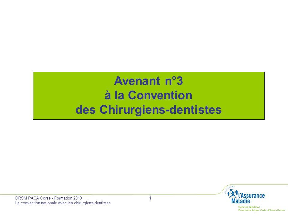 DRSM PACA Corse - Formation 2013 La convention nationale avec les chirurgiens-dentistes 2 Accord le 17 juillet 2013 Signé le 31 juillet 2013 Parution au Journal Officiel prévue début décembre 2013 Par la CNSD, lUNCAM et lUNOCAM Avenant n° 3 à la Convention des Chirurgiens-dentistes