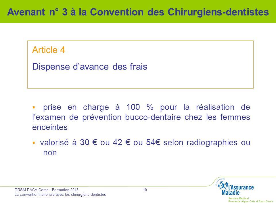 DRSM PACA Corse - Formation 2013 La convention nationale avec les chirurgiens-dentistes 10 Avenant n° 3 à la Convention des Chirurgiens-dentistes Arti
