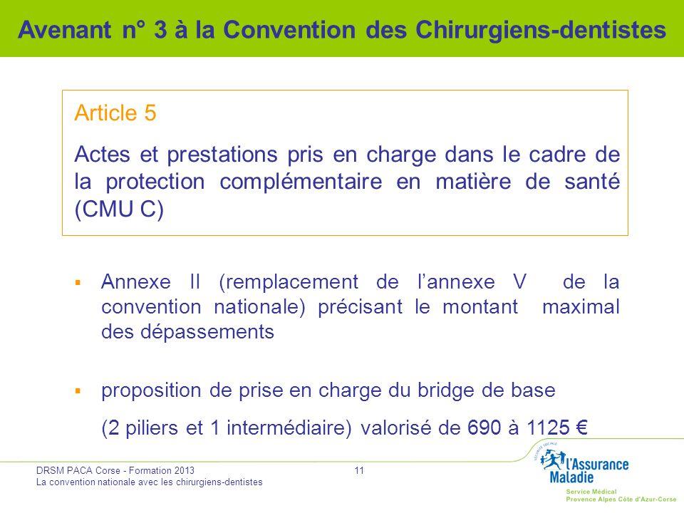 DRSM PACA Corse - Formation 2013 La convention nationale avec les chirurgiens-dentistes 11 Avenant n° 3 à la Convention des Chirurgiens-dentistes Arti