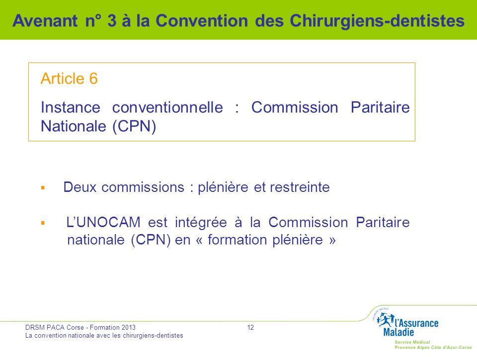DRSM PACA Corse - Formation 2013 La convention nationale avec les chirurgiens-dentistes 12 Avenant n° 3 à la Convention des Chirurgiens-dentistes Arti