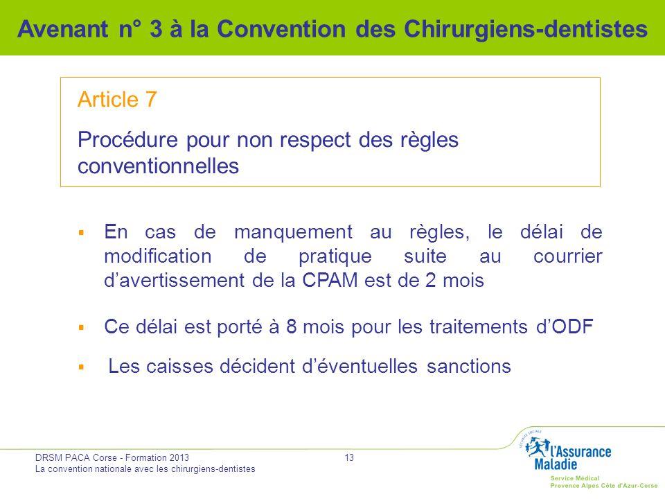 DRSM PACA Corse - Formation 2013 La convention nationale avec les chirurgiens-dentistes 13 Avenant n° 3 à la Convention des Chirurgiens-dentistes Arti