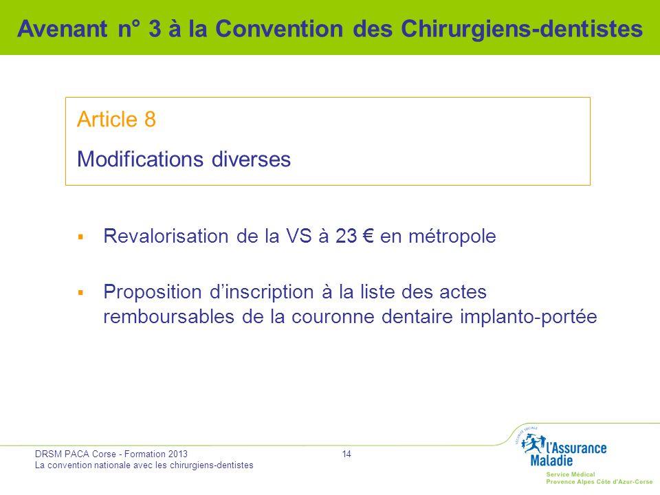 DRSM PACA Corse - Formation 2013 La convention nationale avec les chirurgiens-dentistes 14 Avenant n° 3 à la Convention des Chirurgiens-dentistes Arti