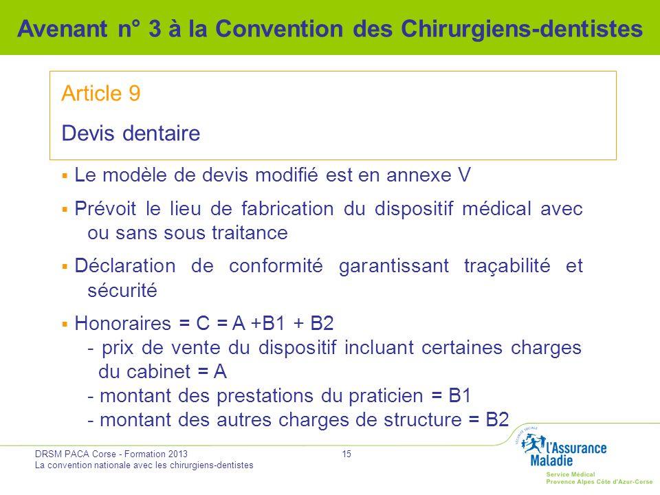 DRSM PACA Corse - Formation 2013 La convention nationale avec les chirurgiens-dentistes 15 Avenant n° 3 à la Convention des Chirurgiens-dentistes Arti