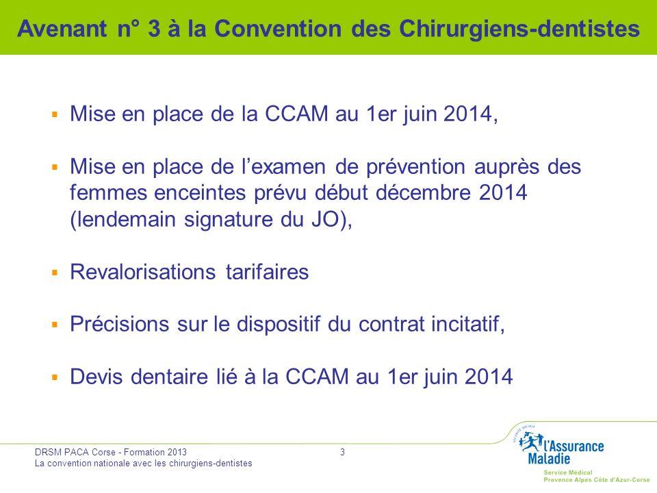 DRSM PACA Corse - Formation 2013 La convention nationale avec les chirurgiens-dentistes 3 Avenant n° 3 à la Convention des Chirurgiens-dentistes Mise