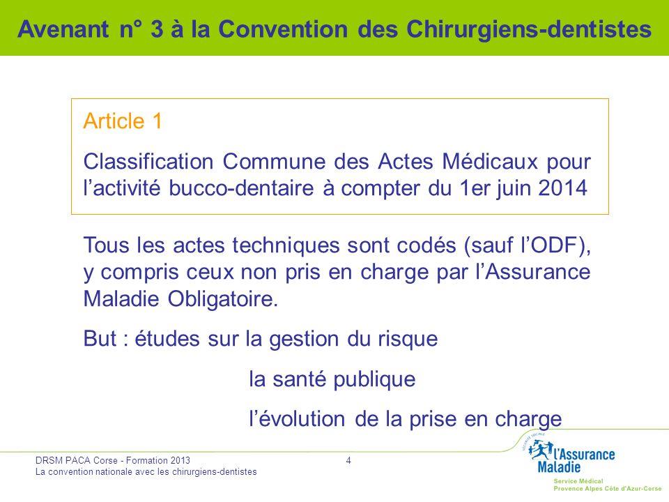 DRSM PACA Corse - Formation 2013 La convention nationale avec les chirurgiens-dentistes 4 Avenant n° 3 à la Convention des Chirurgiens-dentistes Artic