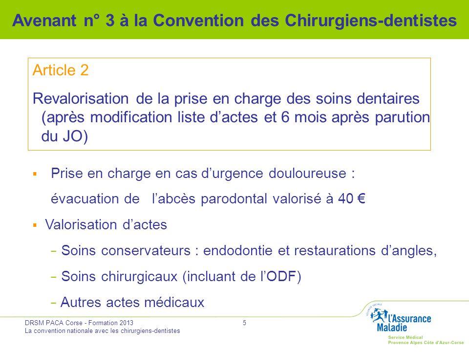 DRSM PACA Corse - Formation 2013 La convention nationale avec les chirurgiens-dentistes 16 Avenant n° 3 à la Convention des Chirurgiens-dentistes Hors avenant Signature en parallèle dune charte de bonne pratique entre UNOCAM et CNSD