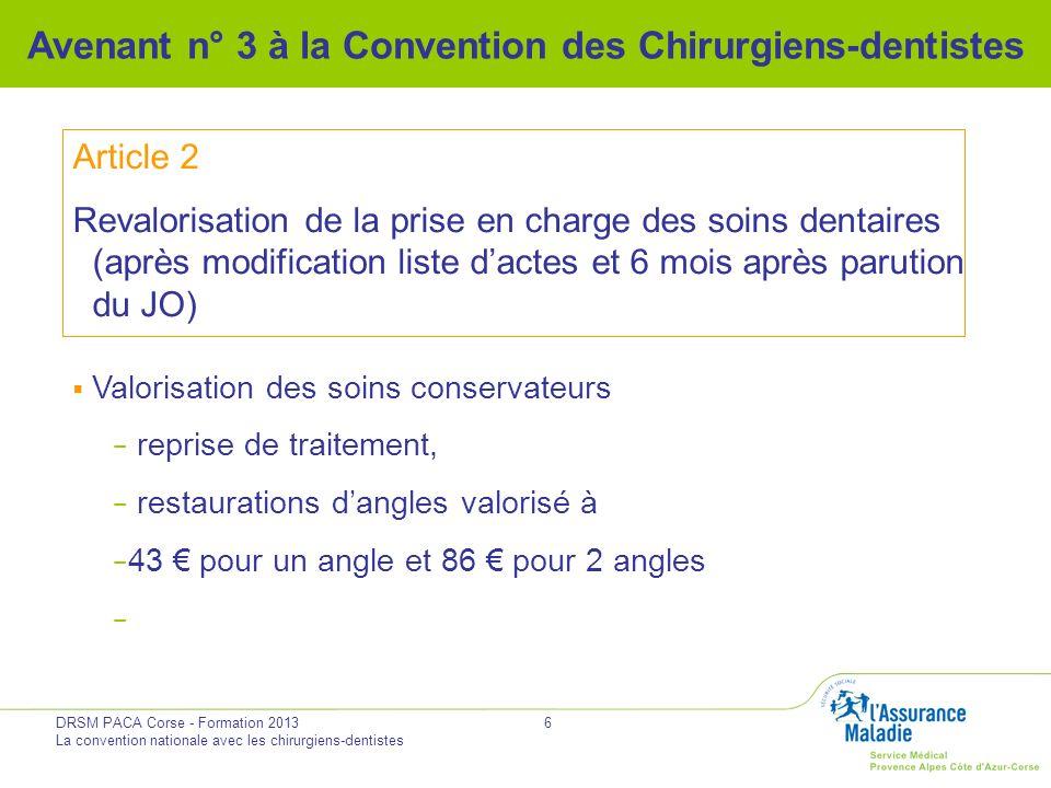 DRSM PACA Corse - Formation 2013 La convention nationale avec les chirurgiens-dentistes 6 Avenant n° 3 à la Convention des Chirurgiens-dentistes Artic
