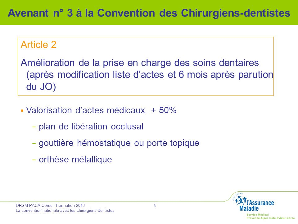 DRSM PACA Corse - Formation 2013 La convention nationale avec les chirurgiens-dentistes 8 Avenant n° 3 à la Convention des Chirurgiens-dentistes Artic