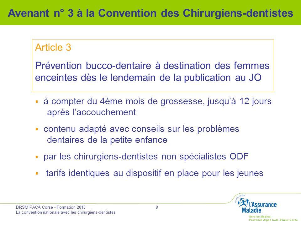 DRSM PACA Corse - Formation 2013 La convention nationale avec les chirurgiens-dentistes 9 Avenant n° 3 à la Convention des Chirurgiens-dentistes Artic
