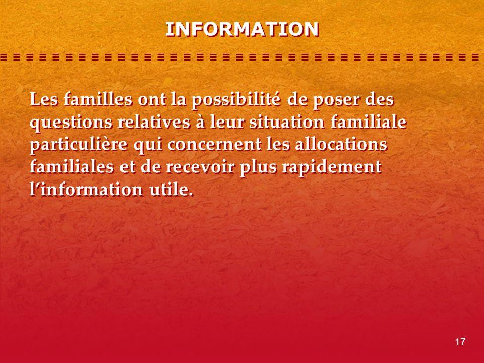 INFORMATION Les familles ont la possibilité de poser des questions relatives à leur situation familiale particulière qui concernent les allocations familiales et de recevoir plus rapidement linformation utile.