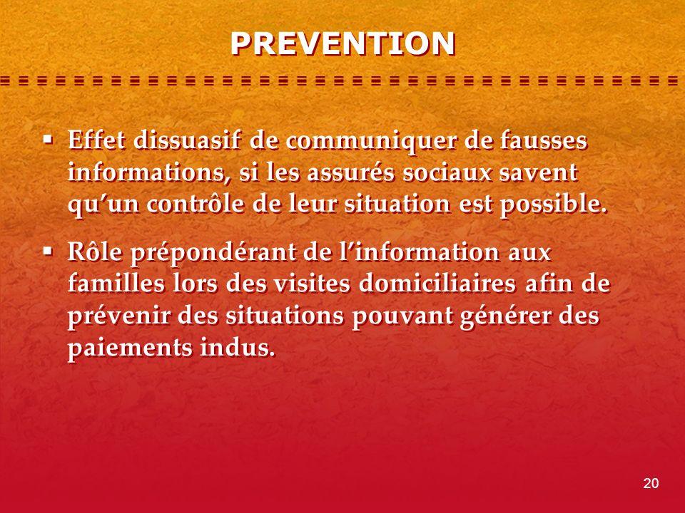 PREVENTION Effet dissuasif de communiquer de fausses informations, si les assurés sociaux savent quun contrôle de leur situation est possible.