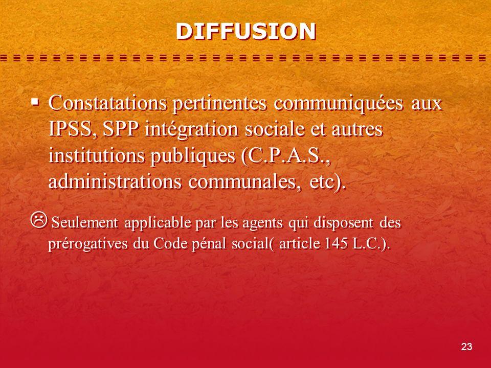 DIFFUSION Constatations pertinentes communiquées aux IPSS, SPP intégration sociale et autres institutions publiques (C.P.A.S., administrations communales, etc).