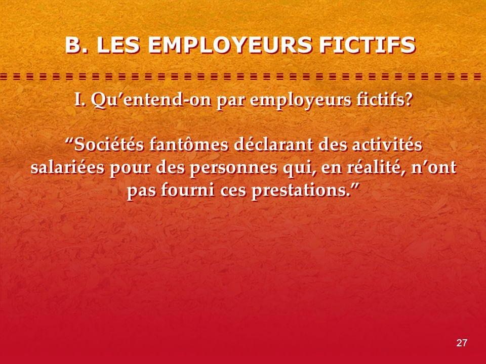 B.LES EMPLOYEURS FICTIFS I. Quentend-on par employeurs fictifs.