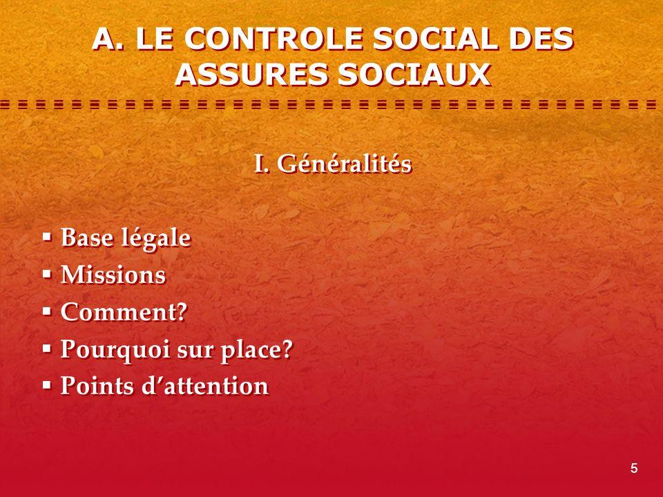 A.LE CONTROLE SOCIAL DES ASSURES SOCIAUX I. Généralités Base légale Missions Comment.