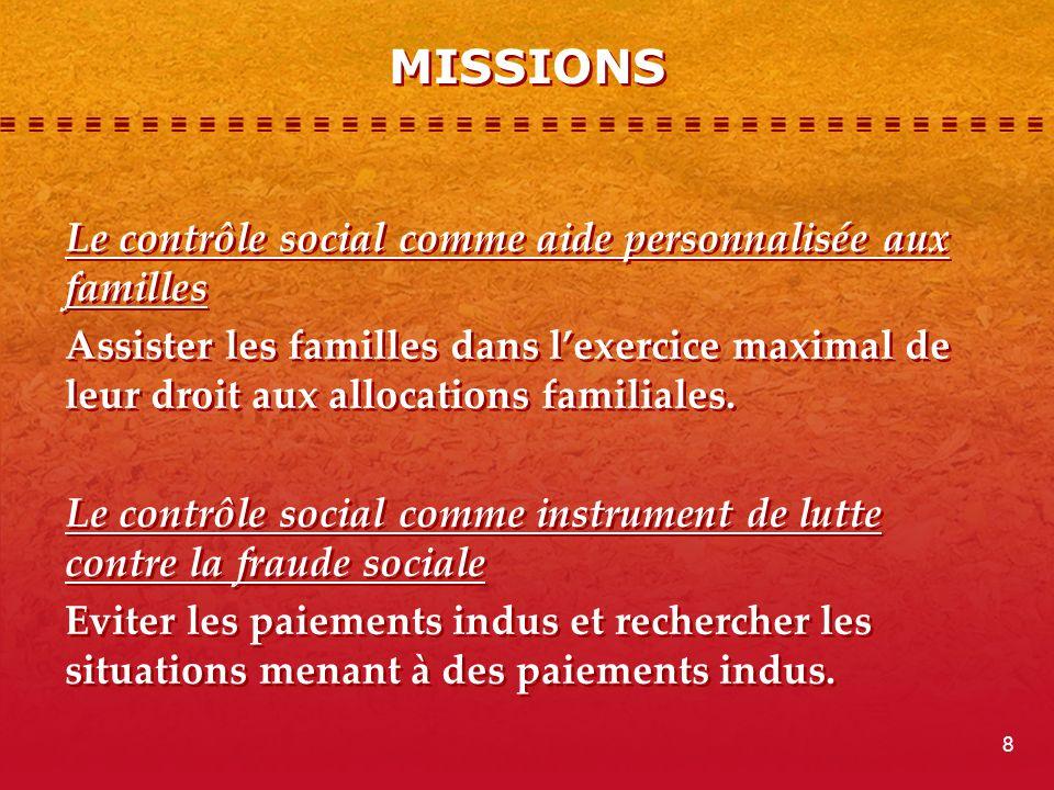MISSIONS Le contrôle social comme aide personnalisée aux familles Assister les familles dans lexercice maximal de leur droit aux allocations familiales.