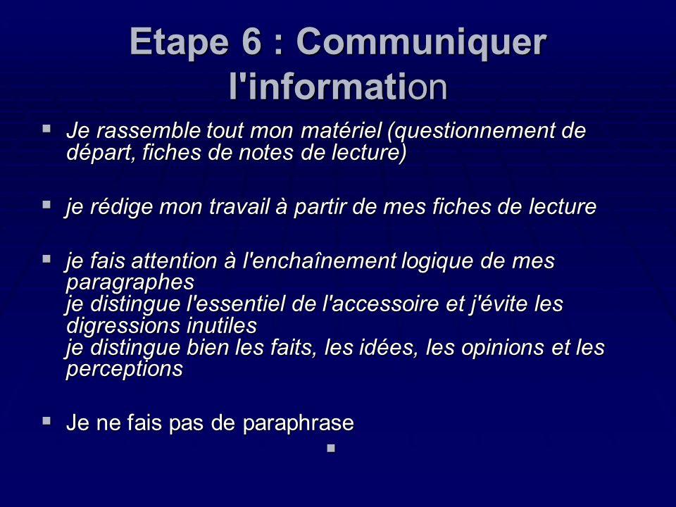 Etape 6 : Communiquer l'information Je rassemble tout mon matériel (questionnement de départ, fiches de notes de lecture) Je rassemble tout mon matéri
