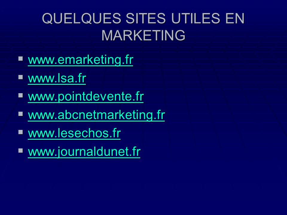 QUELQUES SITES UTILES EN MARKETING www.emarketing.fr www.emarketing.fr www.emarketing.fr www.lsa.fr www.lsa.fr www.lsa.fr www.pointdevente.fr www.poin