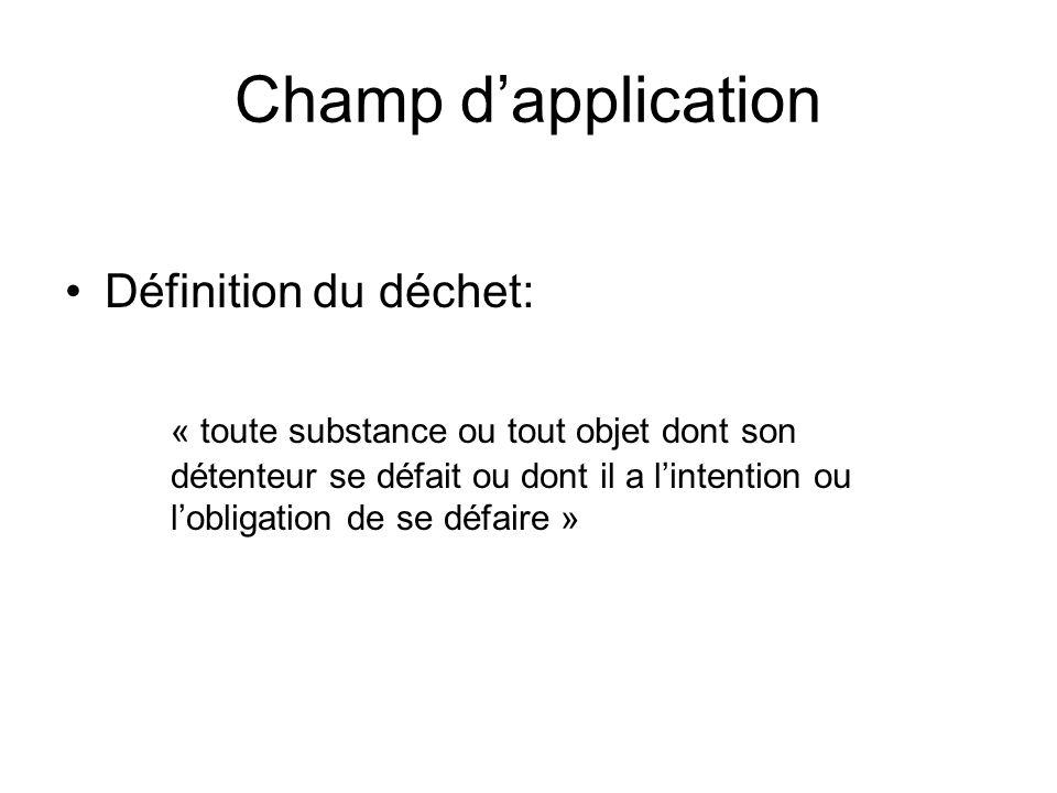 Champ dapplication Définition du déchet: « toute substance ou tout objet dont son détenteur se défait ou dont il a lintention ou lobligation de se défaire »