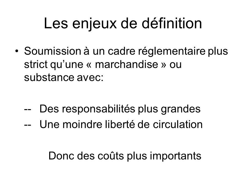 Les enjeux de définition Soumission à un cadre réglementaire plus strict quune « marchandise » ou substance avec: --Des responsabilités plus grandes --Une moindre liberté de circulation Donc des coûts plus importants