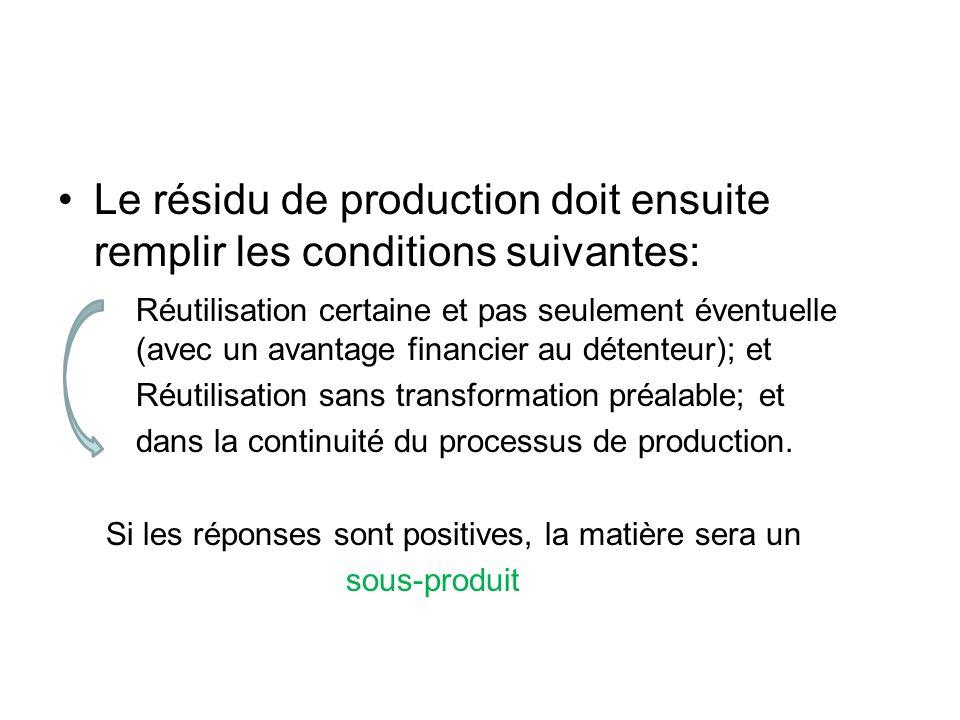 Le résidu de production doit ensuite remplir les conditions suivantes: Réutilisation certaine et pas seulement éventuelle (avec un avantage financier au détenteur); et Réutilisation sans transformation préalable; et dans la continuité du processus de production.
