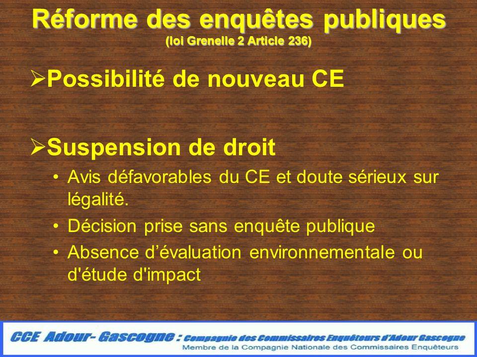 Réforme des enquêtes publiques (loi Grenelle 2 Article 236) Possibilité de nouveau CE Suspension de droit Avis défavorables du CE et doute sérieux sur