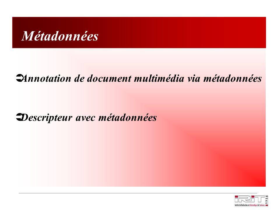 Annotation de document multimédia via métadonnées Descripteur avec métadonnées Métadonnées