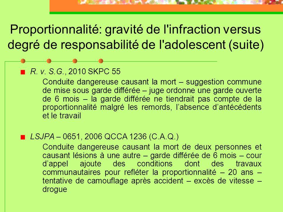 Proportionnalité: gravité de l'infraction versus degré de responsabilité de l'adolescent LSJPA – 113, 2011 QCCQ 428 (M. Gervais) Conduite dangereuse c