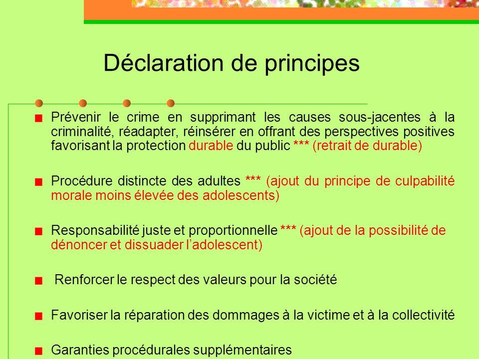 Philosophie de la Loi Déclaration de principes (art. 3 LSJPA) Décisions de la Cour Suprême du Canada