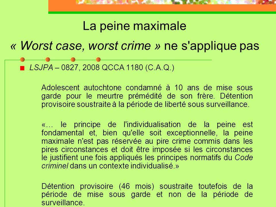 La dissuasion n'est pas un facteur à considérer *** R. c. B.W.P.; R. c. B.V.N., 2006 CSC 27 LSJPA – 1118, 2011 QCCQ 5156 (D. Thibault) Course de rue –