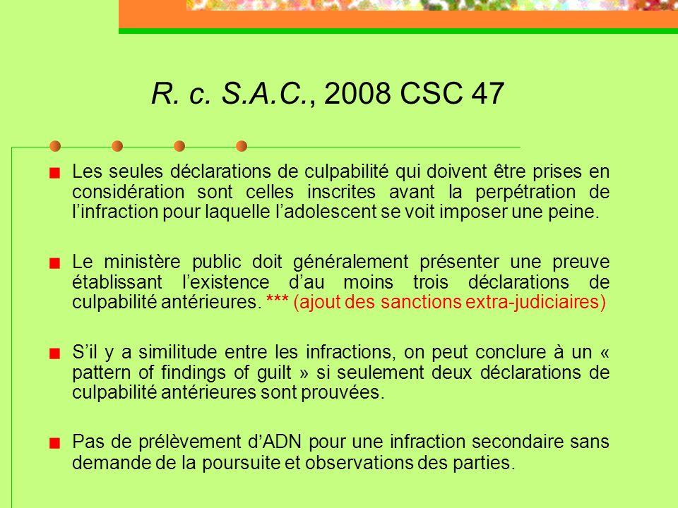 R. c. L.T.H., 2008 CSC 49 Vu le degré de maturité des adolescents, il y a nécessité de leur accorder des garanties procédurales supplémentaires. Larti