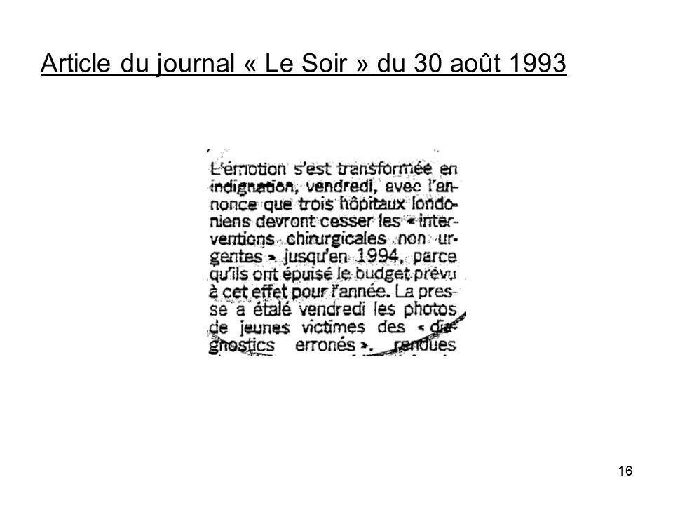 16 Article du journal « Le Soir » du 30 août 1993