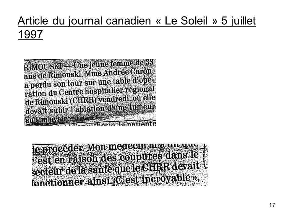 17 Article du journal canadien « Le Soleil » 5 juillet 1997