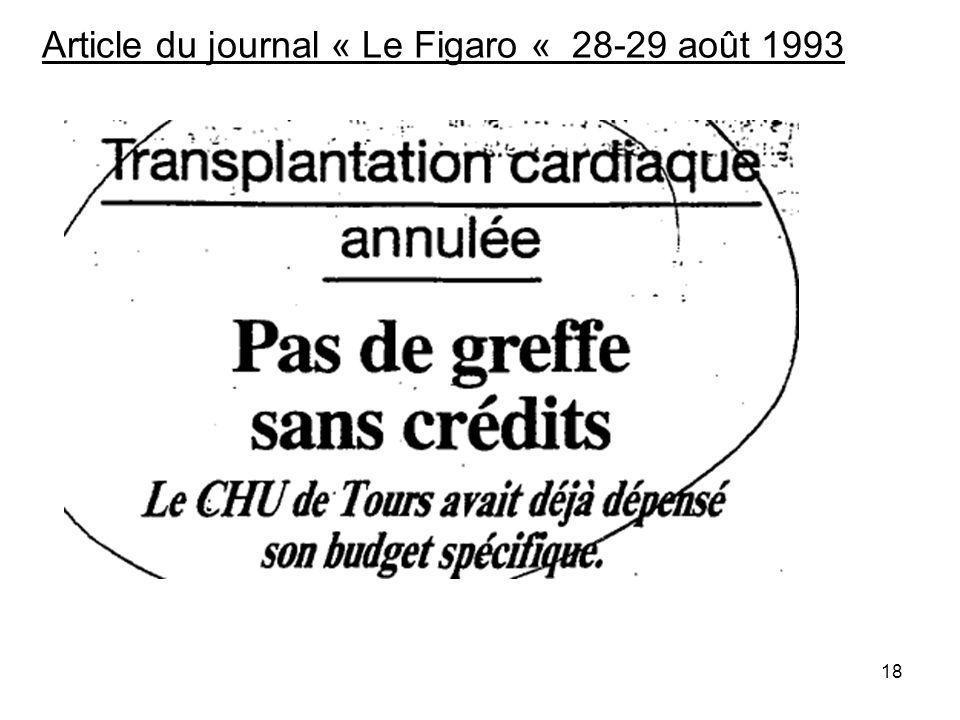 18 Article du journal « Le Figaro « 28-29 août 1993
