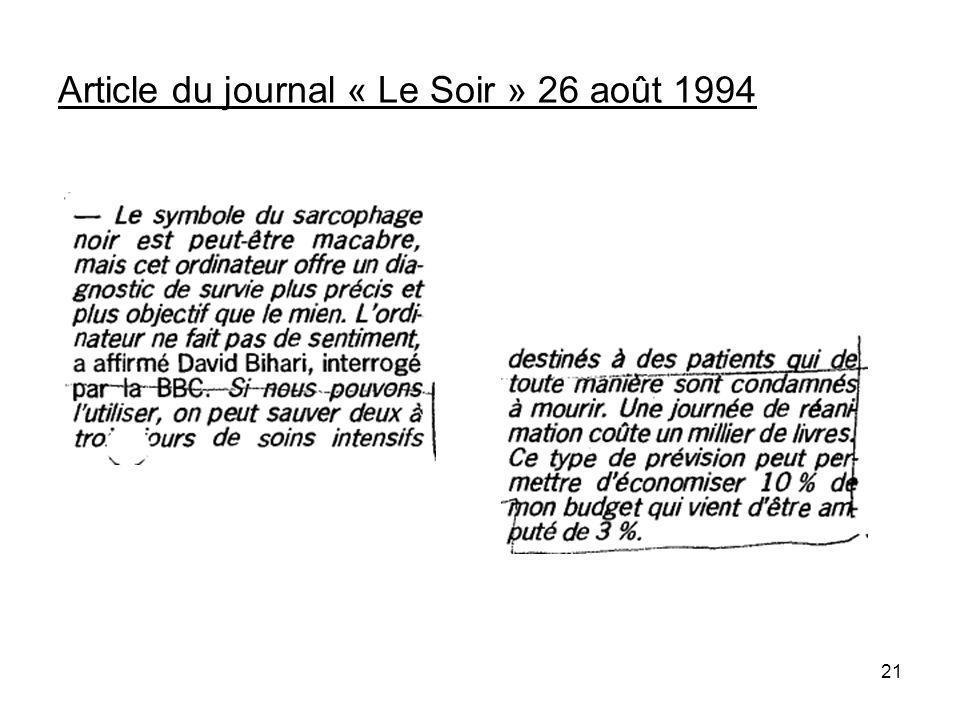 21 Article du journal « Le Soir » 26 août 1994
