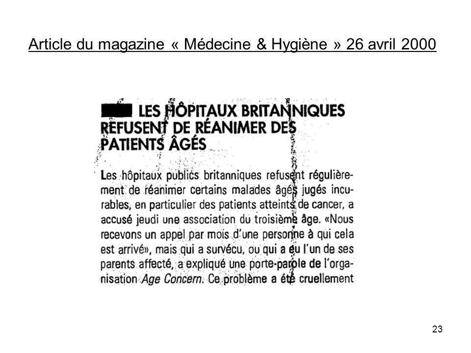 Article du magazine « Médecine & Hygiène » 26 avril 2000 23