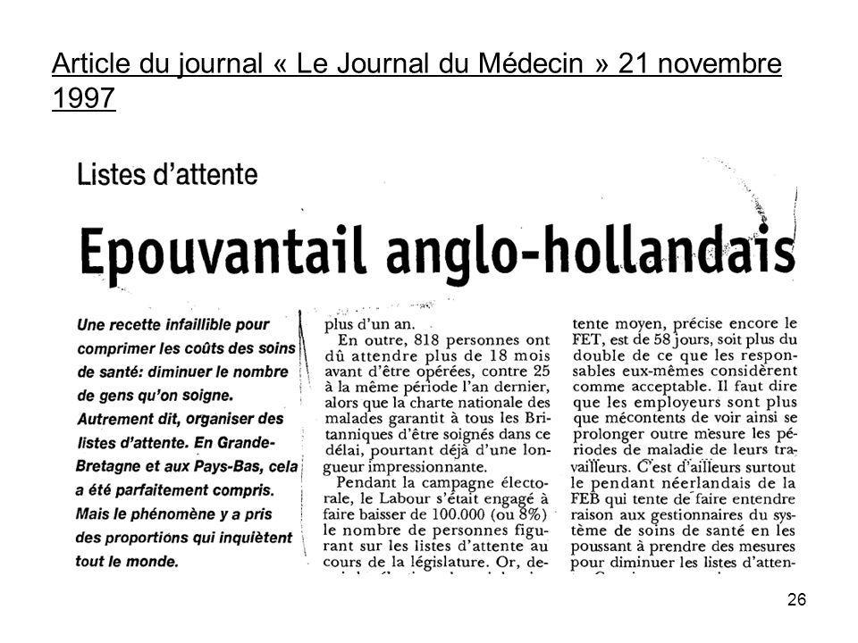 Article du journal « Le Journal du Médecin » 21 novembre 1997 26