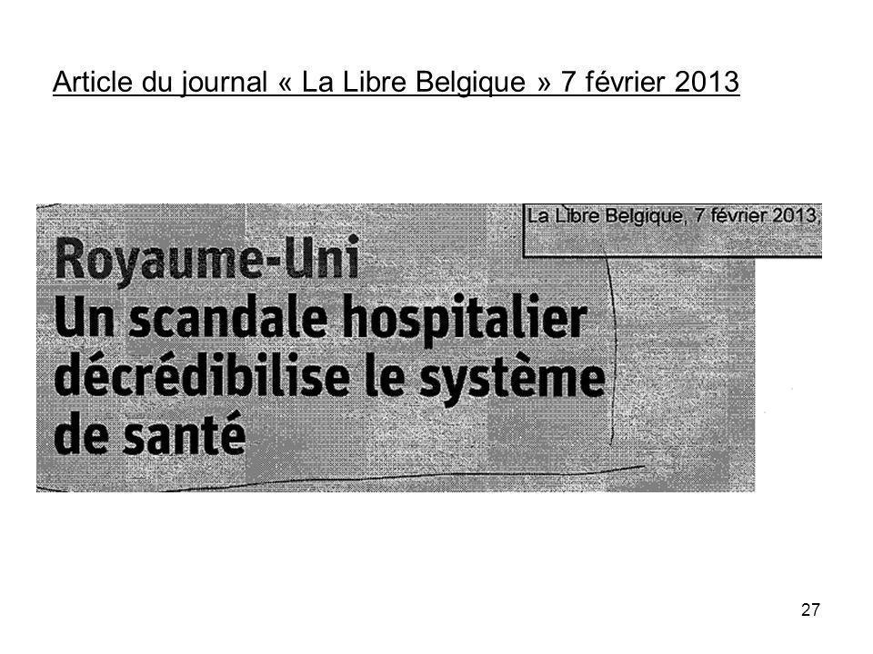 Article du journal « La Libre Belgique » 7 février 2013 27