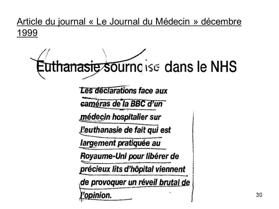 Article du journal « Le Journal du Médecin » décembre 1999 30