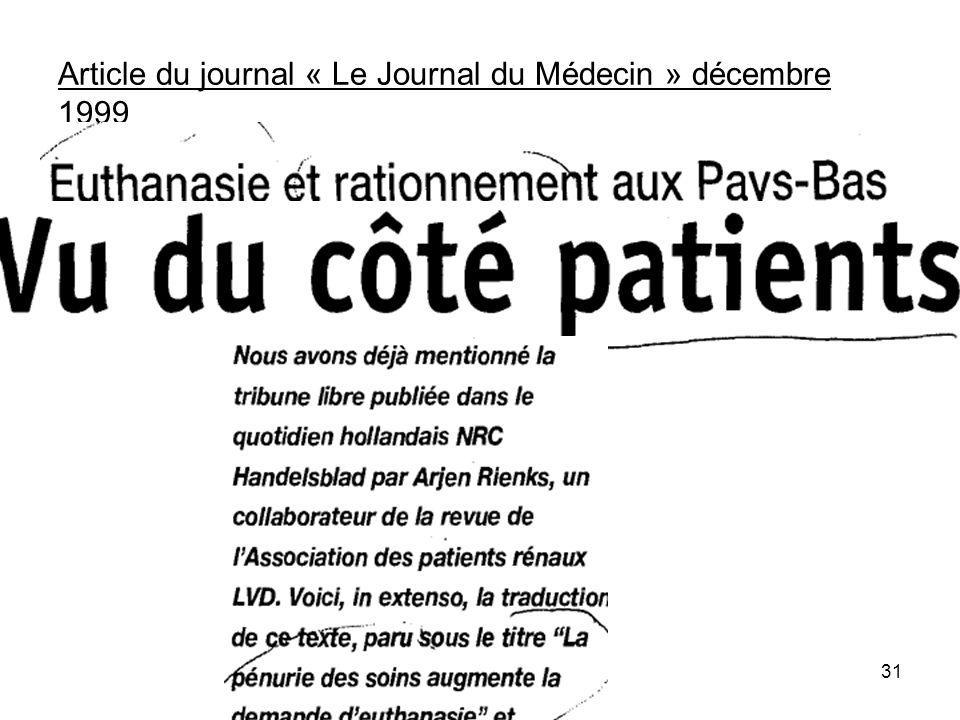 Article du journal « Le Journal du Médecin » décembre 1999 31