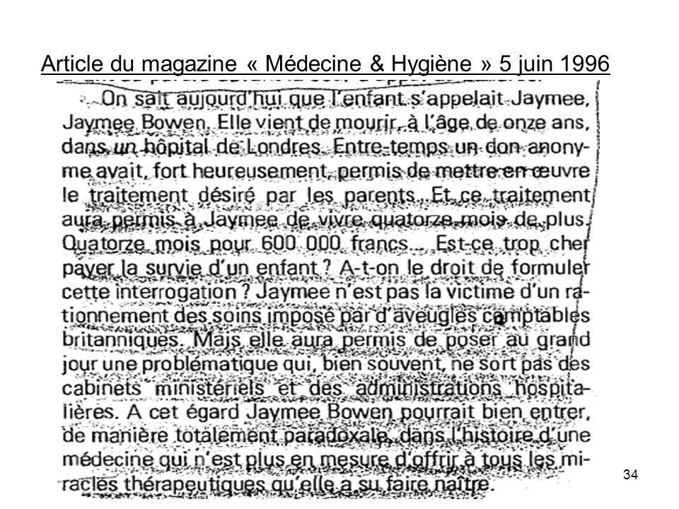 Article du magazine « Médecine & Hygiène » 5 juin 1996 34