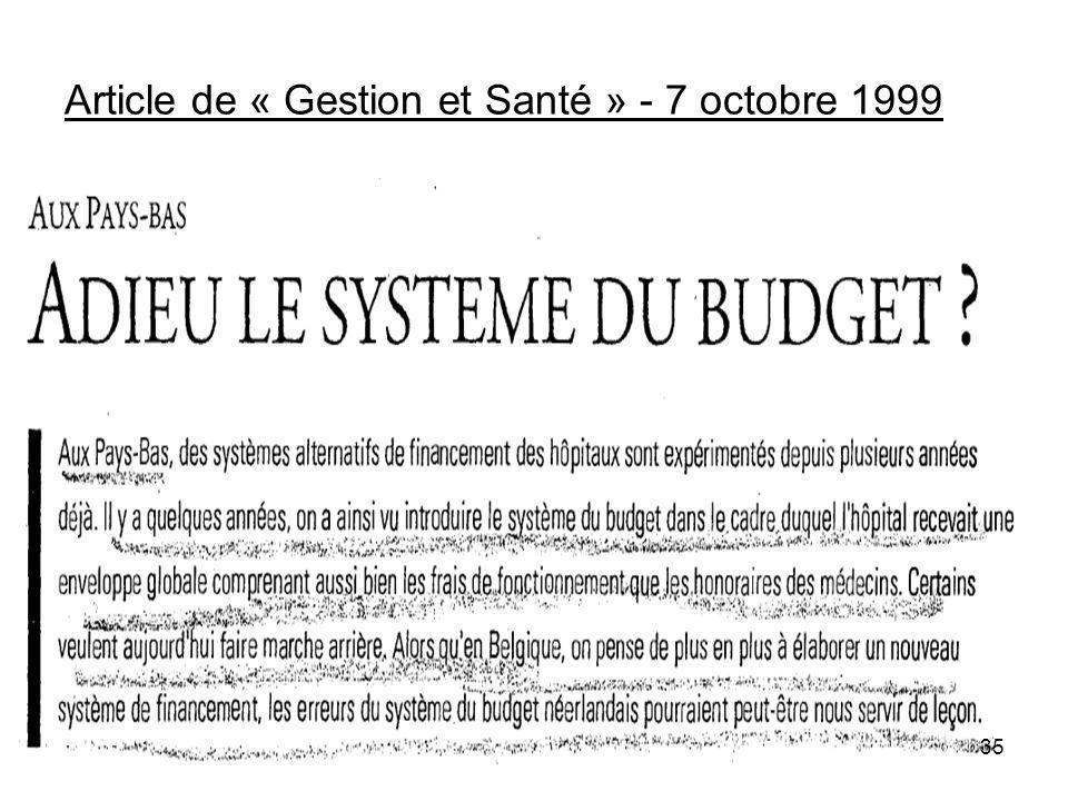 Article de « Gestion et Santé » - 7 octobre 1999 35