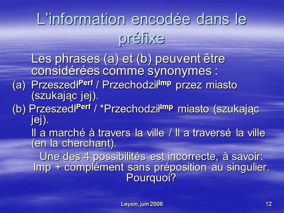 Leysin, juin 200612 Linformation encodée dans le préfixe Les phrases (a) et (b) peuvent être considérées comme synonymes : (a)Przeszedł Perf / Przechodził Imp przez miasto (szukając jej).