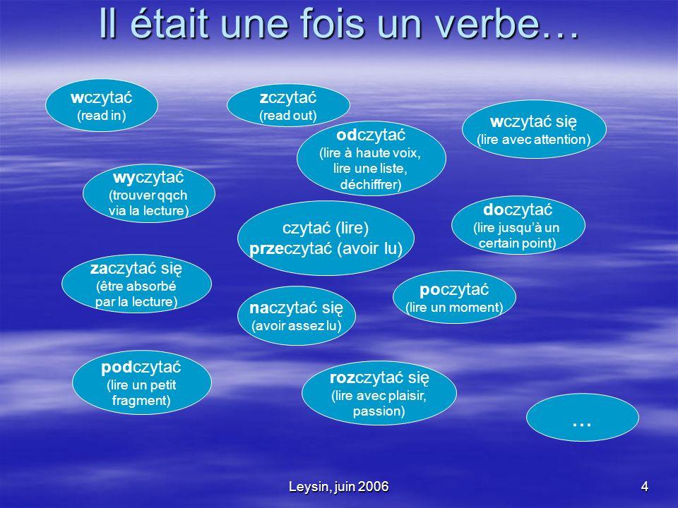 Leysin, juin 20064 Il était une fois un verbe… czytać (lire) przeczytać (avoir lu) doczytać (lire jusquà un certain point) poczytać (lire un moment) wyczytać (trouver qqch via la lecture) odczytać (lire à haute voix, lire une liste, déchiffrer) zaczytać się (être absorbé par la lecture) naczytać się (avoir assez lu) rozczytać się (lire avec plaisir, passion) podczytać (lire un petit fragment) wczytać się (lire avec attention) wczytać (read in) zczytać (read out)...