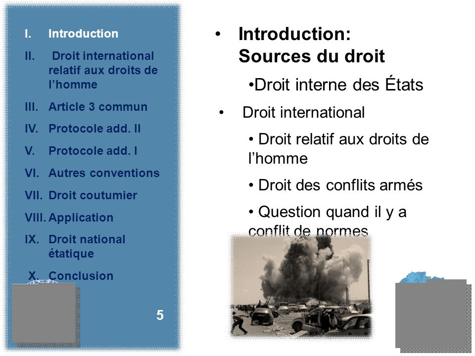 Droit interne des États Droit international Droit relatif aux droits de lhomme Droit des conflits armés Question quand il y a conflit de normes 5 Introduction: Sources du droit I.Introduction II.