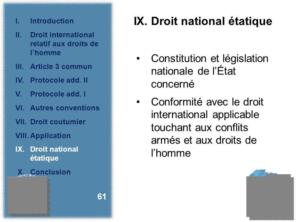IX. Droit national étatique Constitution et législation nationale de lÉtat concerné Conformité avec le droit international applicable touchant aux con