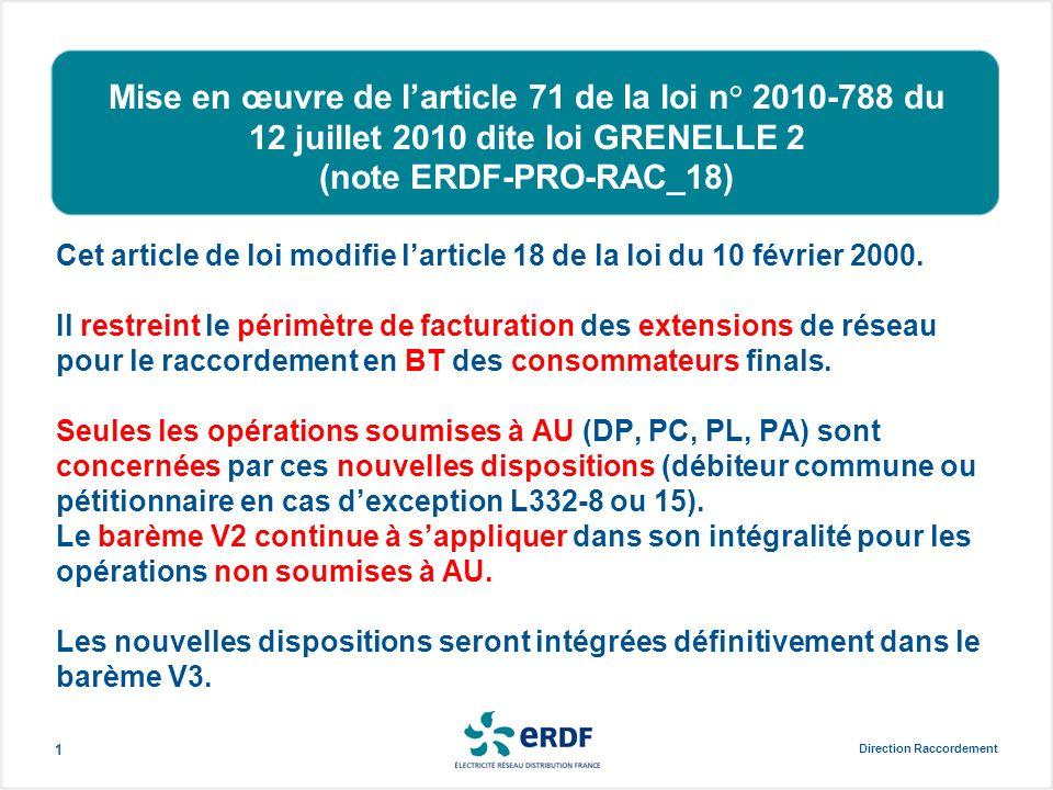 Mise en œuvre de larticle 71 de la loi n° 2010-788 du 12 juillet 2010 dite loi GRENELLE 2 (note ERDF-PRO-RAC_18) Cet article de loi modifie larticle 1
