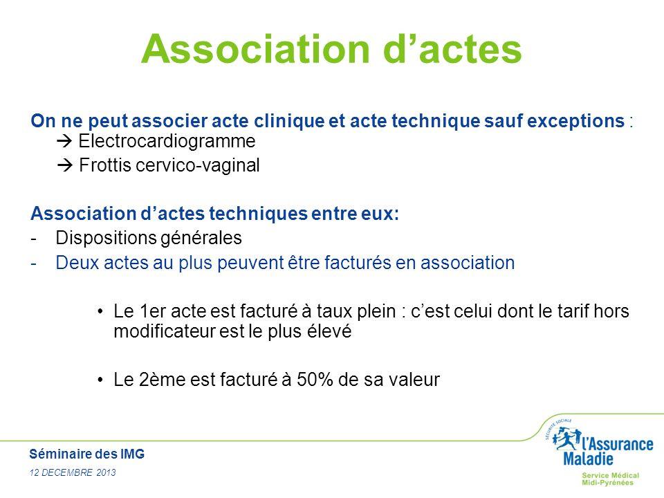 Séminaire des IMG 12 DECEMBRE 2013 Association dactes On ne peut associer acte clinique et acte technique sauf exceptions : Electrocardiogramme Frotti