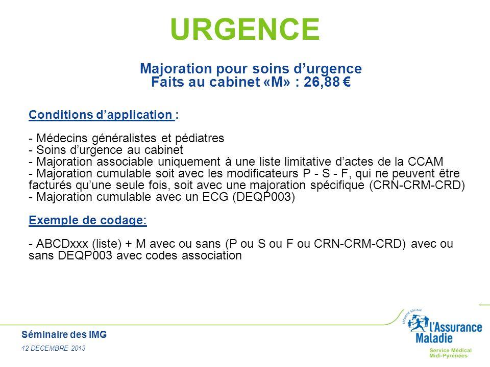 Séminaire des IMG 12 DECEMBRE 2013 URGENCE Majoration pour soins durgence Faits au cabinet «M» : 26,88 Conditions dapplication : - Médecins généralist