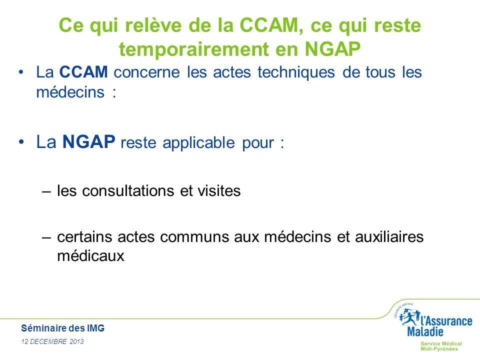 Séminaire des IMG 12 DECEMBRE 2013 Ce qui relève de la CCAM, ce qui reste temporairement en NGAP La CCAM concerne les actes techniques de tous les méd
